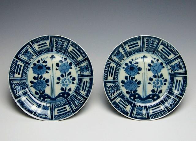 24(2枚)染付芙蓉手菊牡丹皿(クルス皿)1780~1840年代 口径17cm P8020178